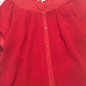 Anthropologie puff sleeve red blouse button front